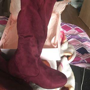 Just fab maroon knee high boots